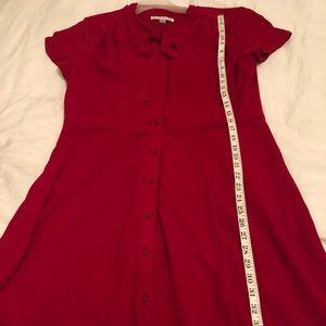 Madison Leigh red dress with ribbon neck tie